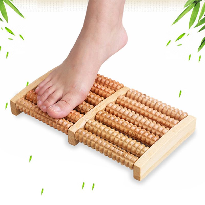 Dual Wooden Foot Massager Roller Relieves Plantar Fasciitis Heel Arch Pain Stress Relief in Foot Care Tool from Beauty Health