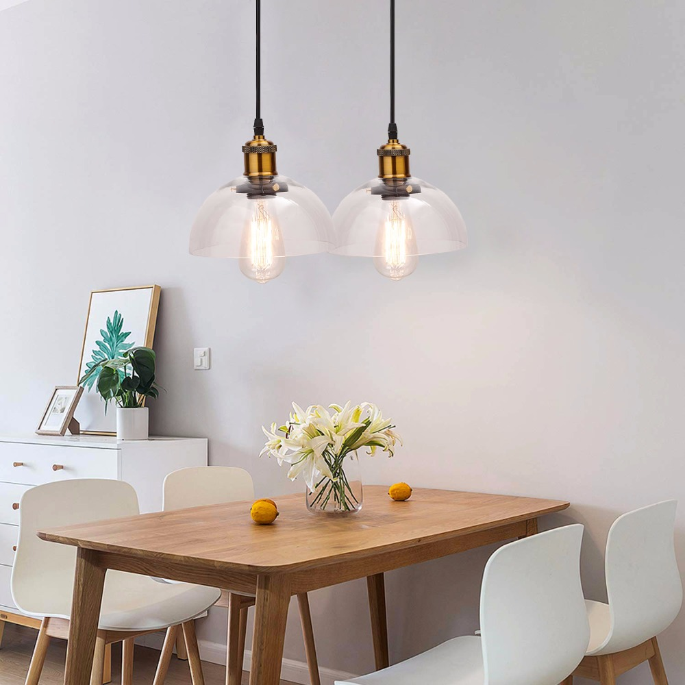 US $25.55 5% OFF|Ganeed Industrial Pendant Lighting with Clear Glass Shade,  Adjustable Edison Farmhouse for Kitchen Island, Restaurant Hotel-in ...