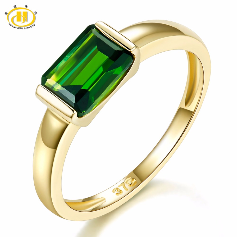 Hutang Genuine 9K Yellow Gold Ring Emerald Cut 1 0 Carat Real Green Chrome Diopside Rings