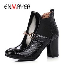ENMAYER New Fashion women square toe heel ankle slip-on boots lady high Big size 34-43 ZYL 628