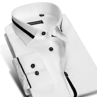 2016 New French Style Male Long Sleev Collar Cotton 100 Slim Fit Men Dress Shirt Fashion