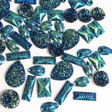 Смешанные формы 150 шт дизайнерские зеркальные синие сшитые на заказ Diy свободные бусины Стразы Кристалл для шитья свадебное платье украшения
