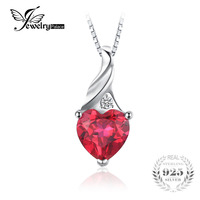 JewelryPalace Love 3 6ct Heart Created Ruby Pendant 925 Sterling Silver Jewelry Romantic Engagement Pendant Not