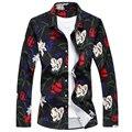 Случайные Рубашки для Цветок Личности Рубашки Большой Размер Классический Стиль С Длинным Рукавом Мода Мерсеризованный Хлопок Марка Мужчины Гент Жизни
