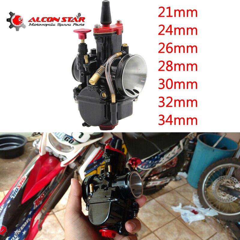 Alconstar 21 24 26 28 30 32 34 ミリメートルオートバイ Mikuni PWK キャブレター電源ジェットモトクロス ATV カフェレーサーオフロード 75 250CC  グループ上の 自動車 &バイク からの キャブレター の中 1
