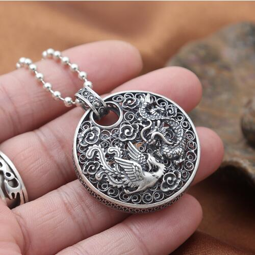 NEW Engraved 100 990 Silver Dragon Pendant Pure Silver Power Dragon Pendant Pure Silver Lucky Dragon