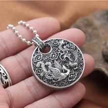 NEUE! Gravierte 100% 990 Silber Drachen Anhänger Aus Reinem Silber Power Drachen Anhänger Aus Reinem Silber Glück Drachen Phönix Halskette Anhänger