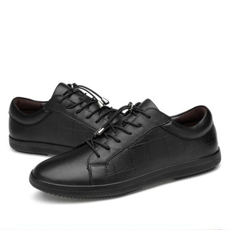 Men England Style Casual Genuine Leather Low Help Single - Men's Shoes