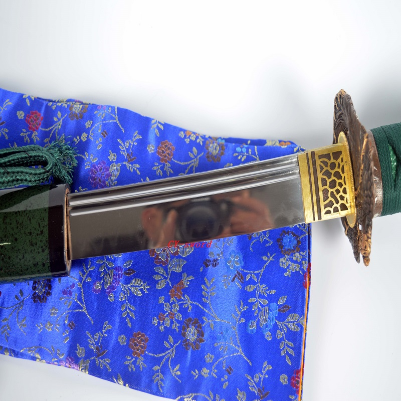Clay Tempered Japanese Green Theme Katana Choji Hamon Sword Phenix - Տնային դեկոր - Լուսանկար 6