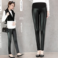 Maternity Leggings Spring Autumn Maternity Pant Faux Leather Slim Leggings Pregnant Pants Mother Fashion Pu Leather Pants B293