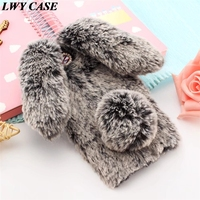For Lenovo PHAB Plus 6 8 PB1 770N Luxury 3D Cute Bunny Rabbit Warm Fur Case