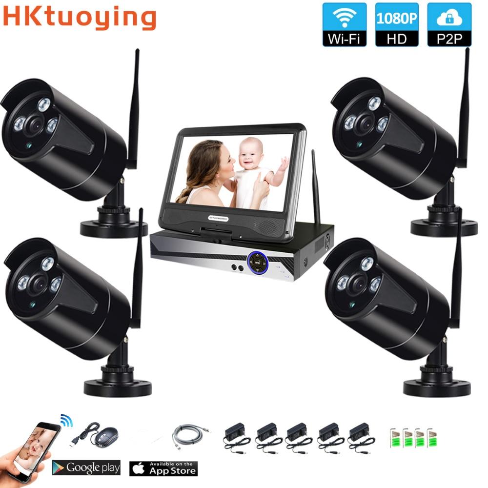 """Système de Surveillance sans fil réseau 10.1 """"moniteur LCD NVR enregistreur Wifi Kit 4CH 1080P HD entrées vidéo caméra de sécurité"""