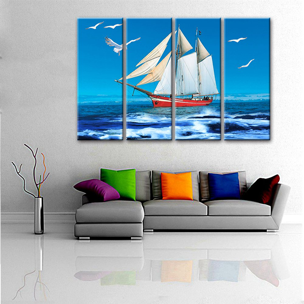 4 Panels Office Hotel Wall Art Decor Sailing on the Sea and Flying Seagulls Painting Print Canvas Modular High Quality Picture