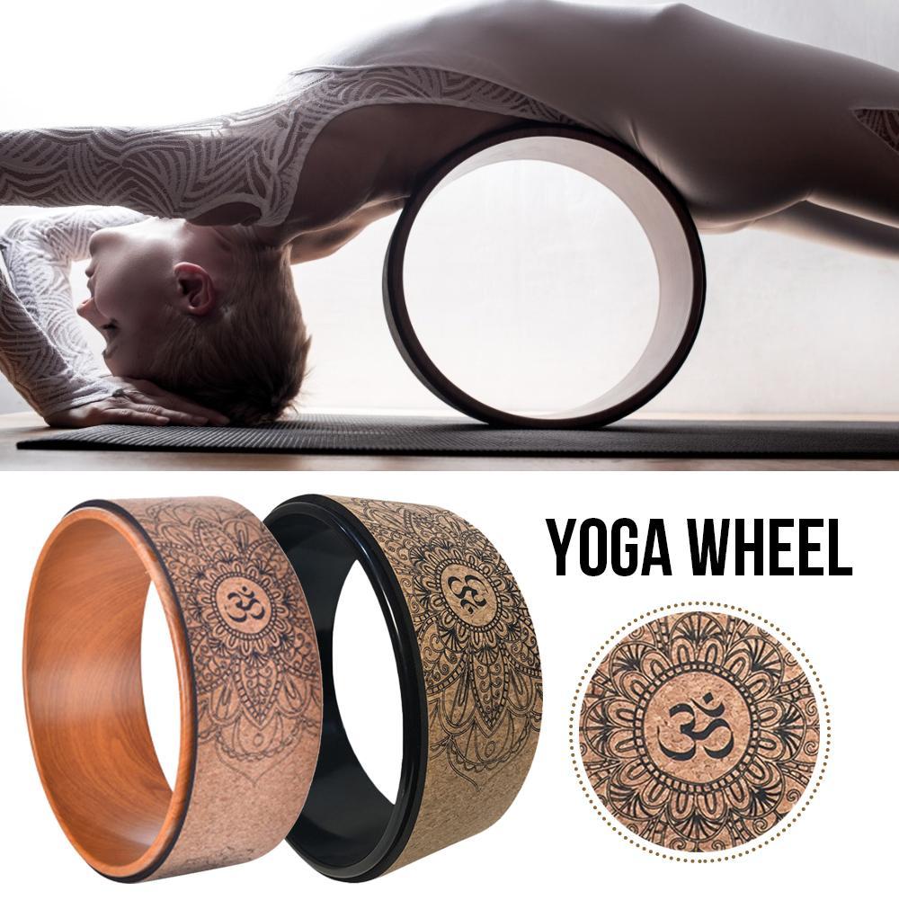 Yoga Wheel Pilate Wood Mandala Flower Professional Yoga Wheel Circles Gym Workout Bodybuilding Fitness Back Training Wheel