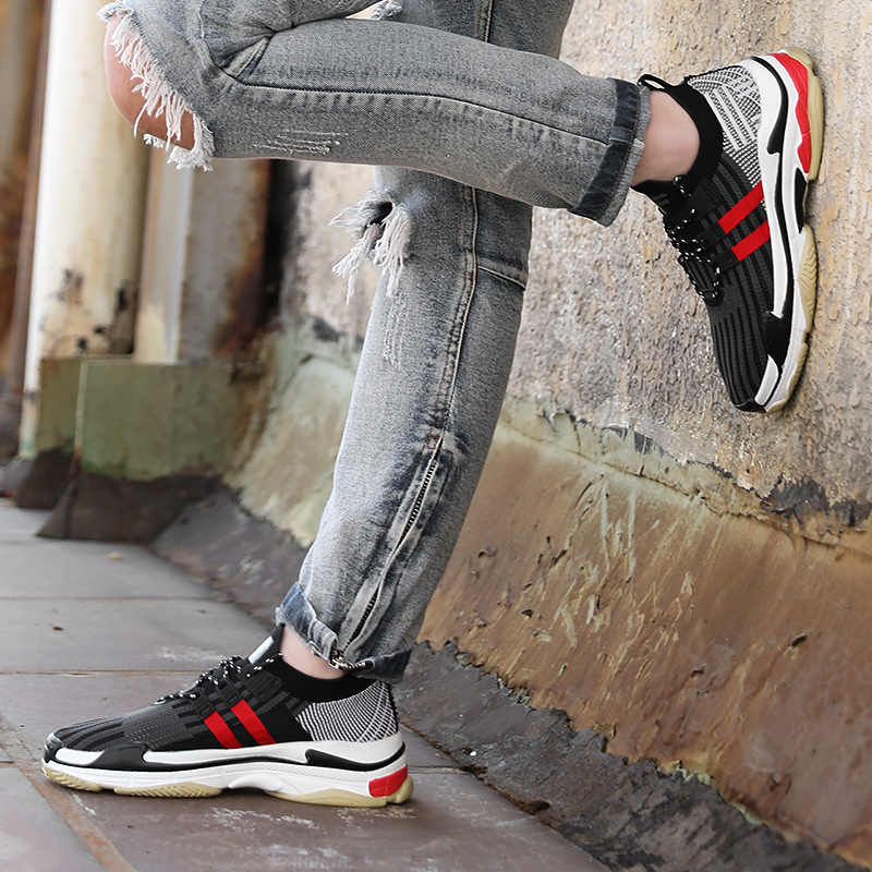 0479b0f6a69a ... Men Sock Sneakers Adult Casual Shoes Thick Sole Fashion 2018 Tide Brand  Design Height Increasing Breathable ...