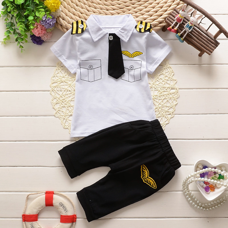 Sailor Kids Clothes 2PCS Baby Boys Sets Summer Outfit Wings Fake Pocket Printed Short Sleeve T shirt Long Pant Clothes Sets D35 autumn 2pcs baby girl clothes set print little animal unicorn horse rainbow long sleeve t shirt tops trousers jeans pant outfit