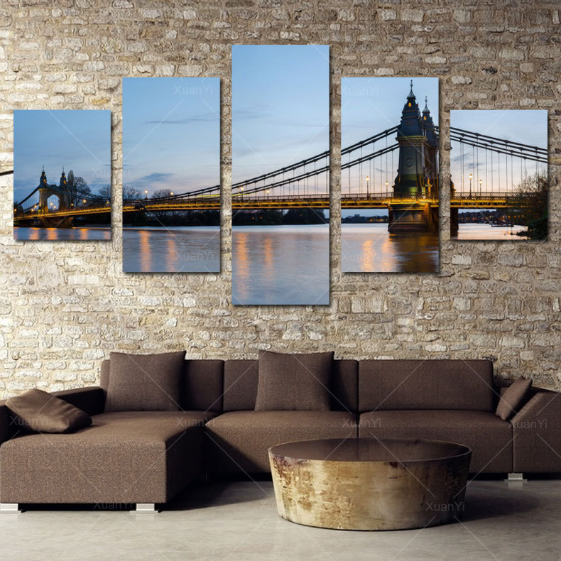5 Panel Modern Printed London Cityscape Oil Canvas Painting Bridge Cuadros Picture Wall Art For Bed Room Unframed