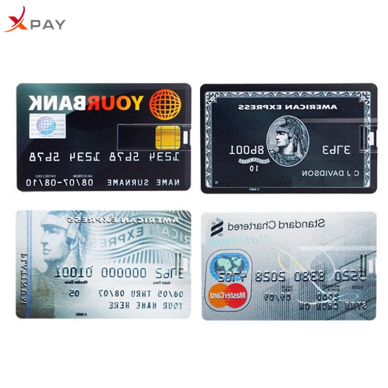 XPAY Usb flash drive 32GB 2.0 Super thin Credit Card pen drive 4GB 8GB 16GB 64GB for gift high quality 128GB pendrive Free Logo-in USB Flash Drives from Computer & Office