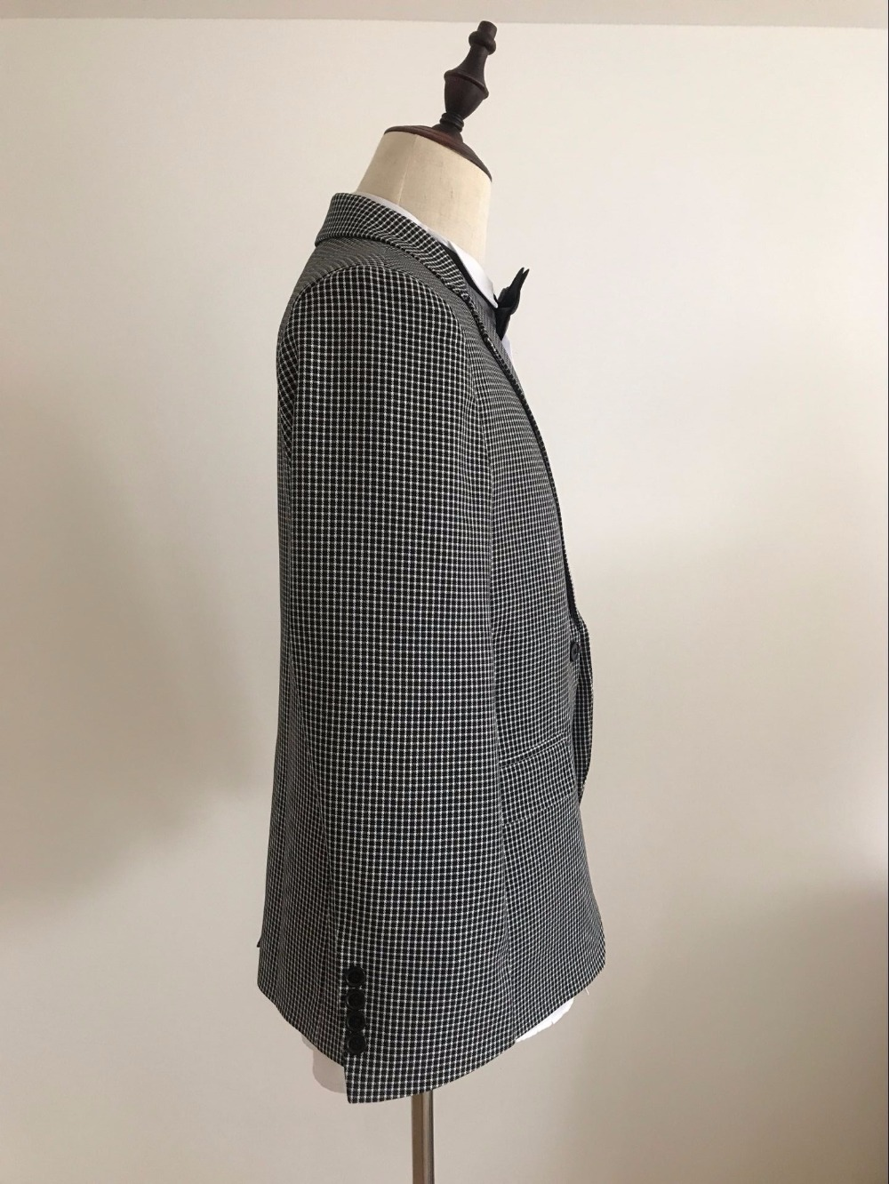 Hommes Sur veste Image Meilleur Made Costume Pièces Hankerchief 2 Garçons Cravate Pantalon custom Mariage Homme The Smokings Mesure Marié Plaid D'honneur De As q8R5nA76