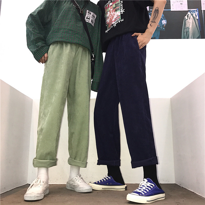 Personality Vintage New Brand Korean Fashion Women's Clothing Harajuku Style Ulzzang Loose Couple Corduroy Solid Straight Pants