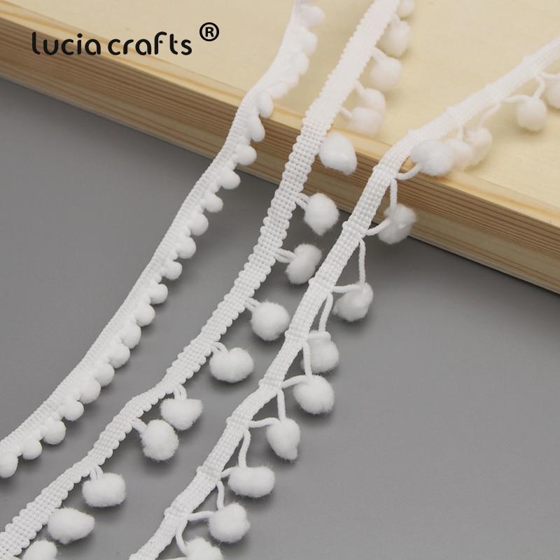 Lucia crafts 5 ярдов 10 мм белая кружевная лента с бахромой и помпоном для самостоятельного пошива одежды, аксессуары K0104