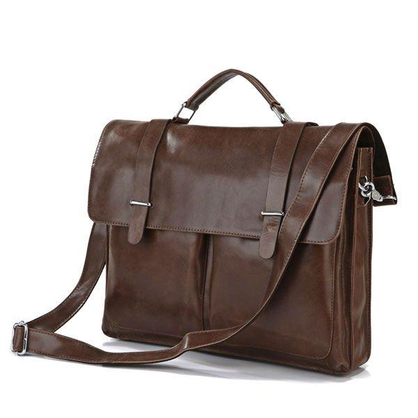 High Quality Real Leather Brown JMD Men's Briefcase Portfolio Business Bag Messenger Bag 7100B