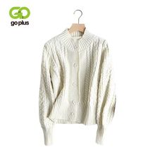 GOPLUS 2019 Autumn womens knitted Jacket Cardigan Long Sleeve Knitted Sweater Winter Korean style Loose Clothing Femme