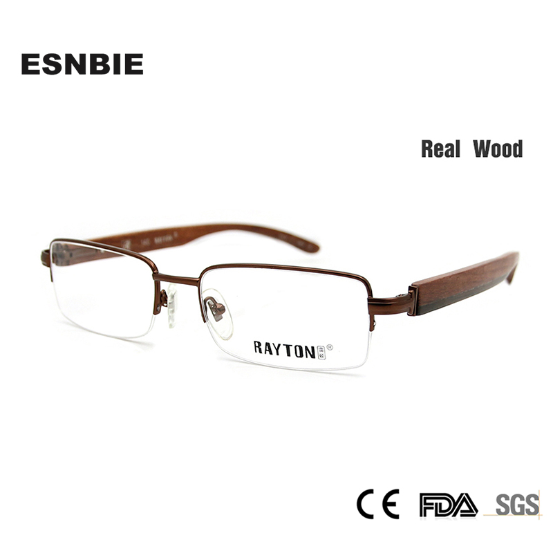 89f1e98c3c31a ESNBIE New Natural De Madeira Metade Óculos de Armação de Óculos Quadros  Homens Óculos De Madeira Frame Ótico Ouro em Clear Lens