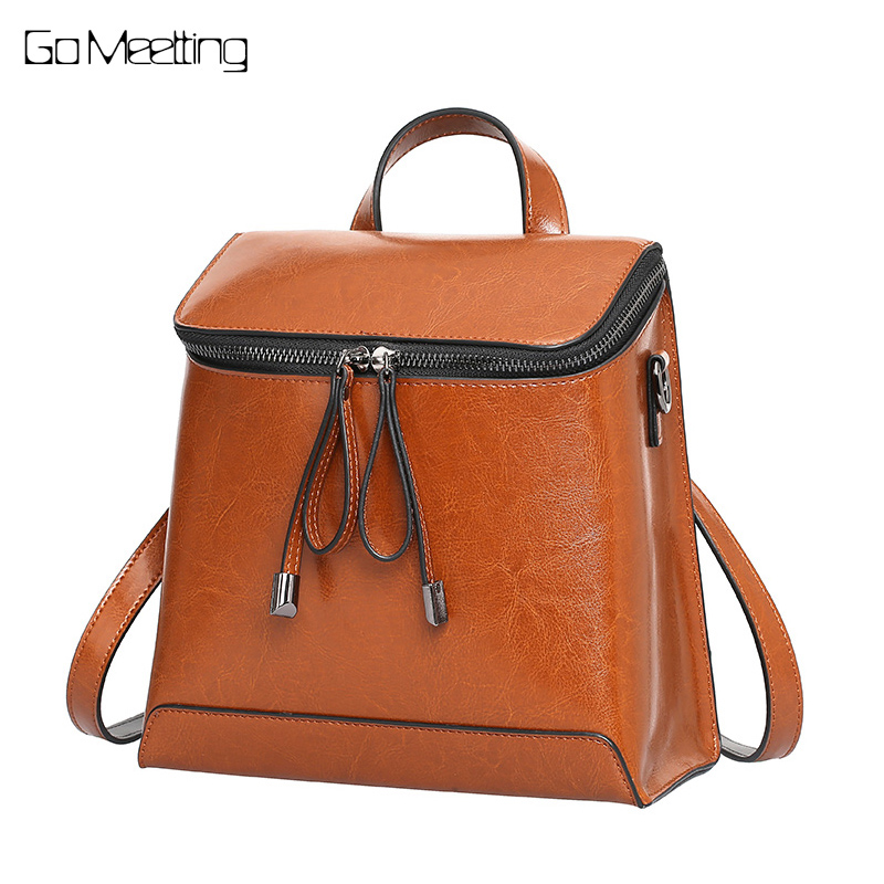 Go Meetting Fashion Genuine Leather Small Backpack Women Bags Preppy Style Backpacks Shoulder Girls School Bags mochila feminina ciker new preppy style 4pcs set women printing canvas backpacks high quality school bags mochila rucksack fashion travel bags