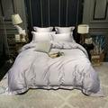 Rey reina tamaño cama aves Plumas 100% algodón egipcio blanco gris cama funda nórdica hoja con magnífico bordado