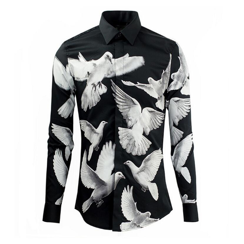 US $59 8 |Unique Design Peace Pigeon Pattern Shirts Men Brand Quality  Cotton Long Sleeve Fashion Turn Down Collar Royal Shirt Male Cloth-in  Casual