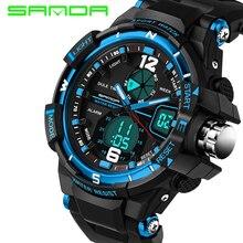 Sanda hombres del reloj del deporte 2017 reloj masculino de cuarzo led digital relojes de pulsera de los hombres de primeras marcas de lujo digital de reloj relogio masculino