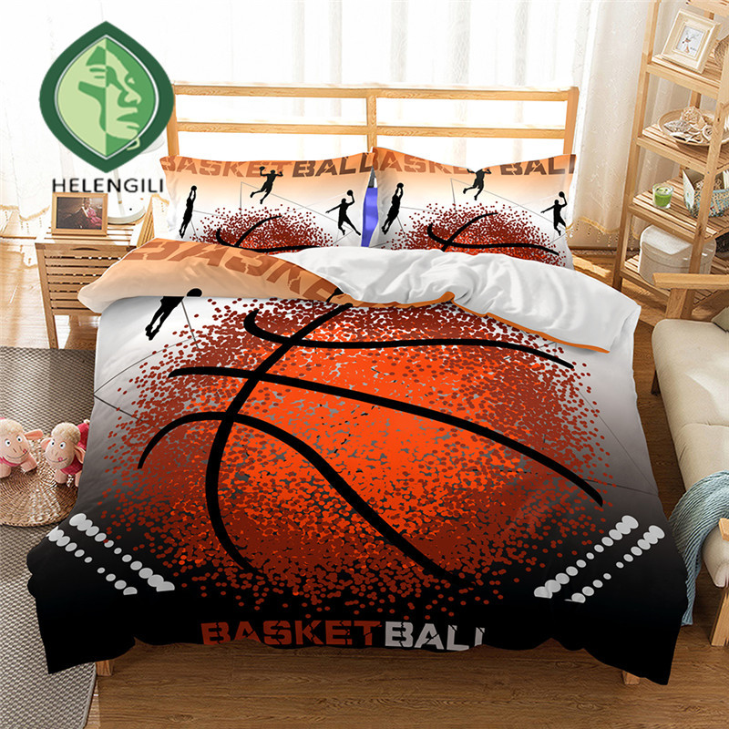 HELENGILI 3D Bedding Set Basketball Print Duvet Cover Set Lifelike Bedclothes With Pillowcase Bed Set Home Textiles #2-02