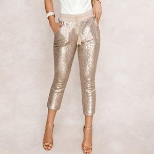 Image 1 - ファッションスパンコールペンシルパンツ 2020 新ホット黒一色/ゴールド女性巾着ウエストブリンブリンパーティーナイトクラブふくらはぎ丈ズボン