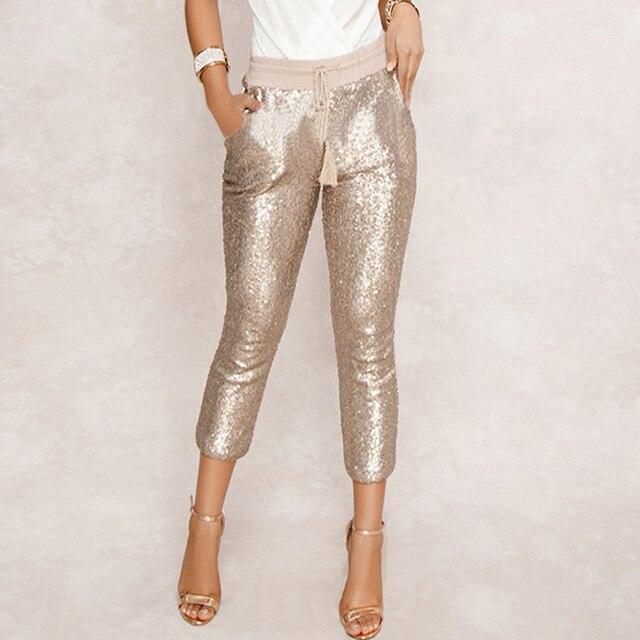 אופנה נצנצים מכנסי עיפרון 2020 חדש חם מוצק שחור/זהב נשים שרוך מותן בלינג מסיבת מועדון לילה עגל אורך מכנסיים