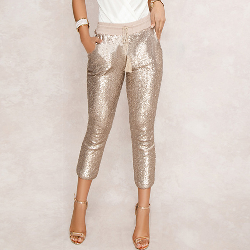 Fashion Sequin Pencil Pants 2020 New Hot Solid Black/Gold Women Drawstring Waist Bling Party Nightclub Calf-length Trousers