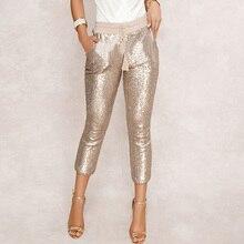 Pantalones de tubo de lentejuelas de moda 2020 nuevos pantalones largos hasta la pantorrilla de fiesta de club nocturno con cordón negro/dorado para mujer