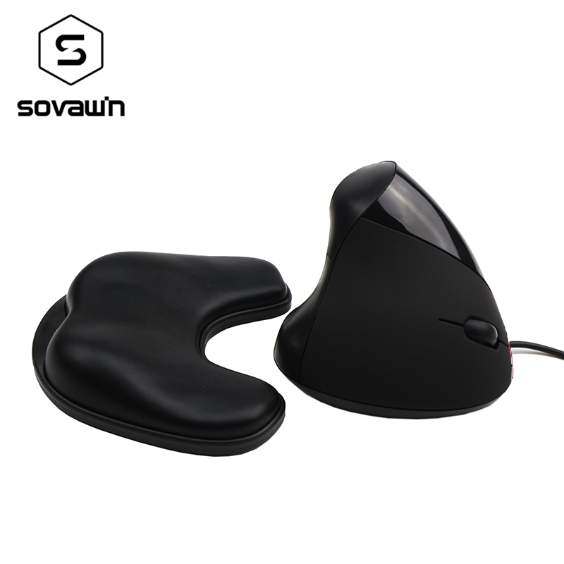 Sovawin Computer PC Wired Vertical Mouse USB destro Ottico 2.4g Ergonomico con Memory Foam Soft Mouse Rest Mouse Pad