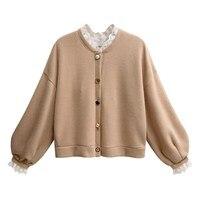 Spring Women Lace Patchwork Coat Loose Long Sleeve Knit Sweater Coat Lantern Sleeve Cardigans Coat