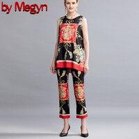 От Megyn Runway Дизайнерские повседневные праздничные брюки для отдыха Комплект женский топ без рукавов с принтом + шорты комплект из двух предме