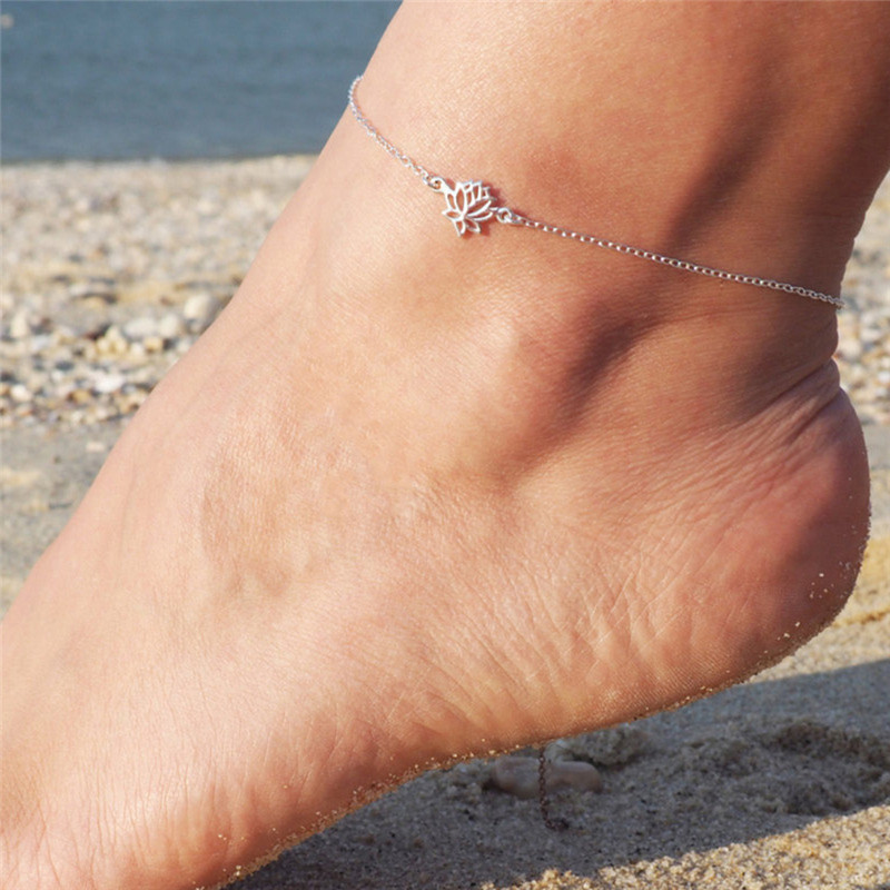 Yoga Anklet Summer Jewelry Lotus Flower Anklets Color Stainless Steel Leg Chain Bracelet Anklet Beach Foot Jewelry