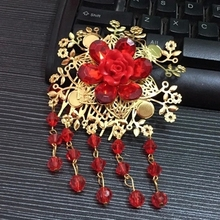 Bridal Chinese traditional gold tone red bead rose dangle Flower Hair comb