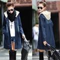 New Fashion Women Denim Jacket Casual Slim Long Coat Casaso Feminino Hooded Frayed Full Sleeve Outwear Overcoat Large Size XXL