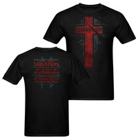 New Kerusso Jesus Salvation T Shirt Cross Adult Mens Christian Bible Scripture Black White O Neck