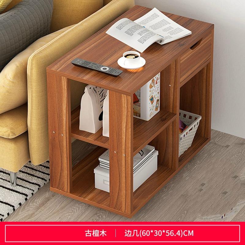 Многофункциональный журнальный столик Современная гостиная диван угловой столик имитация дерева боковые шкафы прикроватная стойка для хранения с колесом - Цвет: G