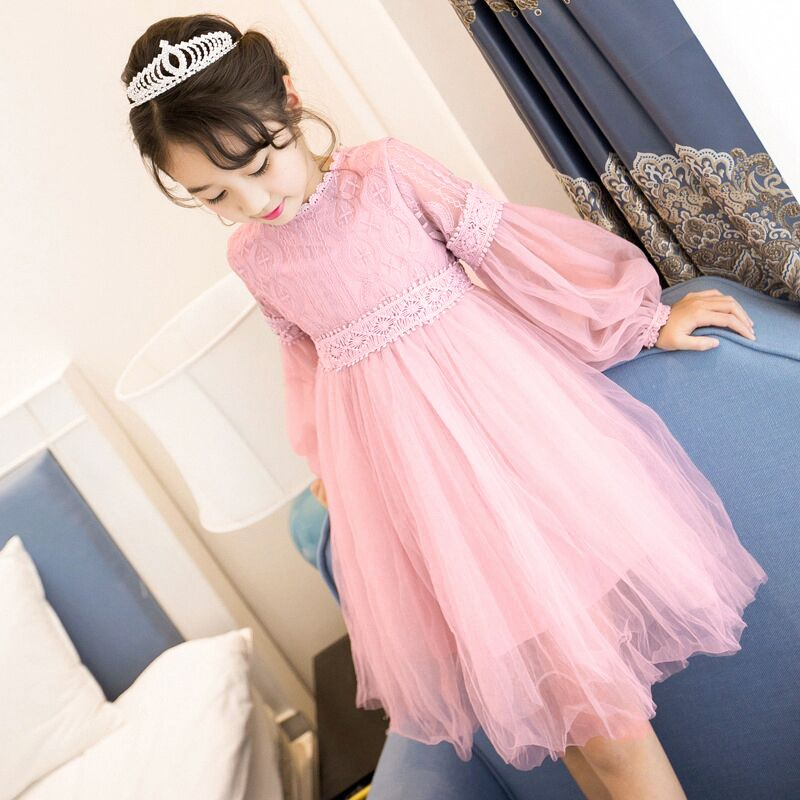 Brand 2018 New Summer Autumn Girls Dresses For Girls Clothes Lace Princess Dress Solid Lantern Long-Sleeve Baby Children Dress 2015 new spring autumn korea style girls cute leather lace patchwork princess long sleeve dresses baby boutique dress