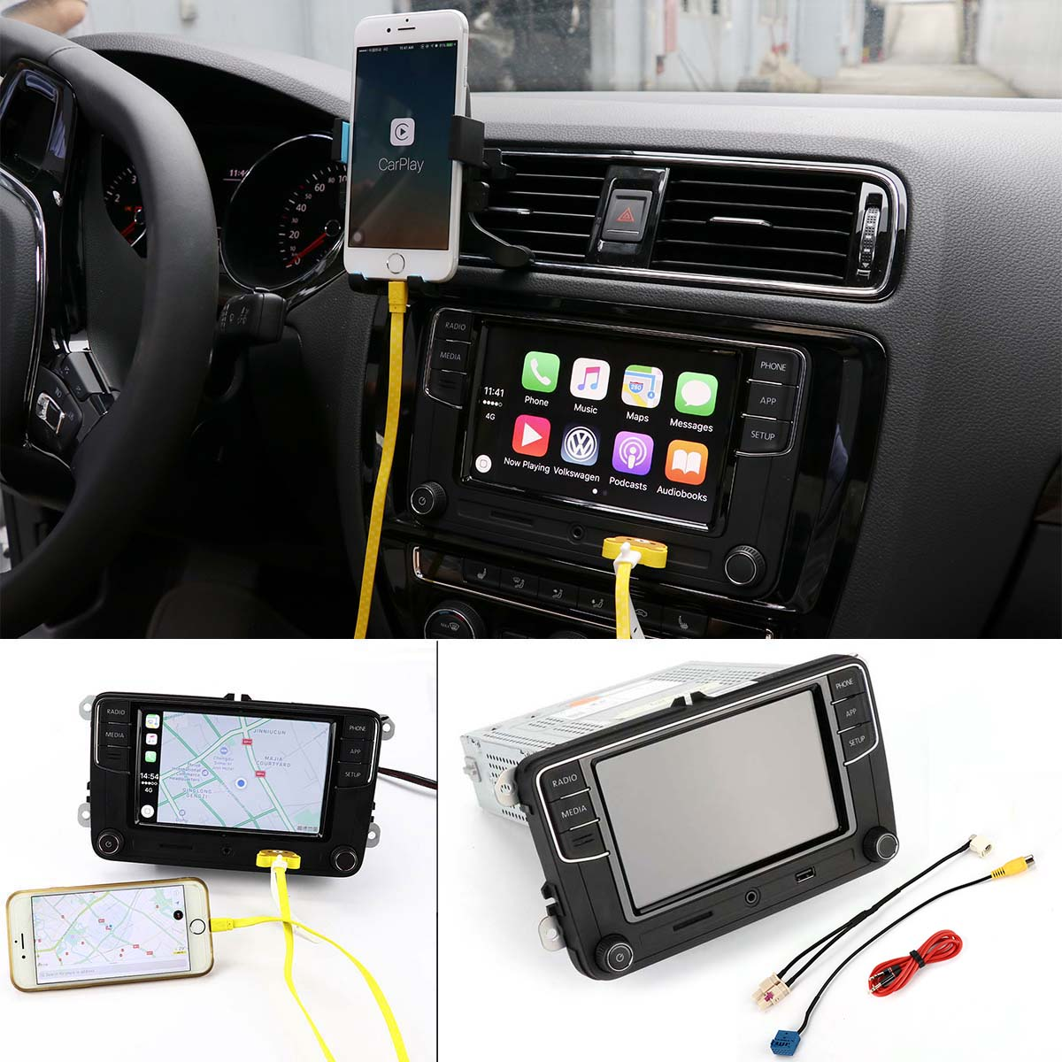New 6.5 MIB Original CarPlay RCD330 Plus Car MIB Radio Mirrorlink for Volkswagen VW w/Cable 6RD 035 187 B Version B fyh winter kids clothing boys jackets fur collar kids warm parka children s thick outerwear coat kids down jacket cotton padded