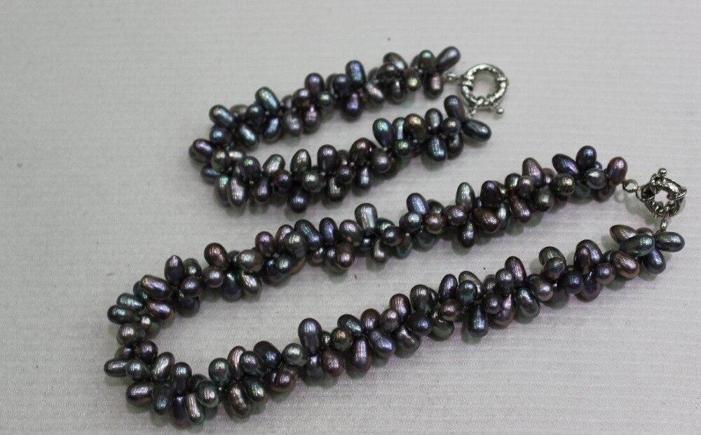 Алиэкспресс Иркутск - Горячие продают-j003332 2 strand темно-серый Пресной Воды перл set 6x9 мм 8.5 & 18 INCH сплав