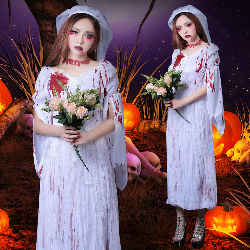 Halloween costume female role playing cosplay scary sexy skinny ghost bride costume adult women vampire dress with headwear
