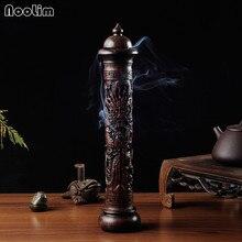 NOOLIM Ebony Wood Dragon Sculpture Stick Incense Burner Wood Pomades Joss Sticks Incense Holder Handmade Censer